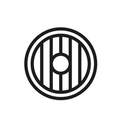 Round wooden shield icon on white background vector