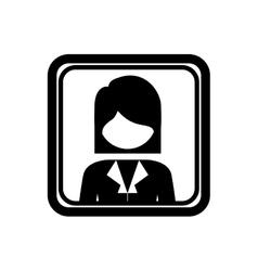 Square border with silhouette half body woman vector