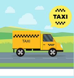 Taxi service moving car on a landscape background vector