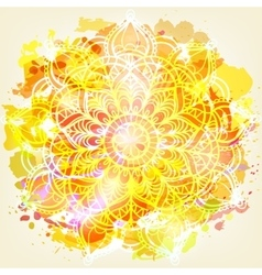 Watercolor card with mandala vector