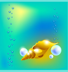 with golden beautiful seashell vector image vector image