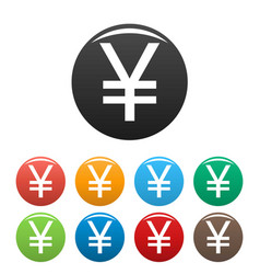 yen symbol icons set vector image vector image