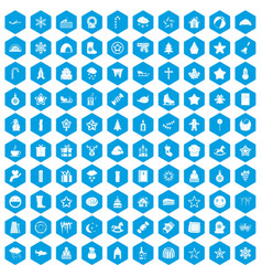 100 christmas icons set blue vector image vector image