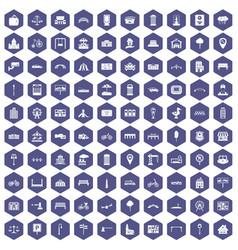 100 city icons hexagon purple vector