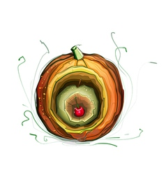 Pumpkin apple cherry still life vector
