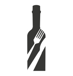wine bottle drink beverage silhouette icon vector image