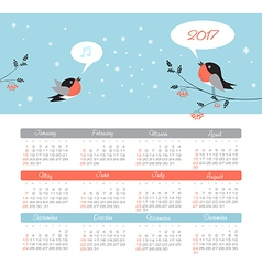 Calendar 2017 year with bird week starts sunday vector