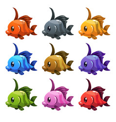 Cute cartoon colorful fishes set vector