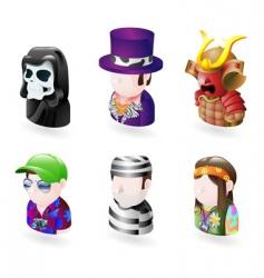 avatar people internet icon set vector image