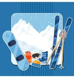 Winter sports background with equipment sticker vector image