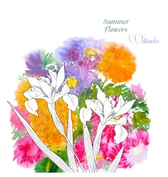 Background with summer flowers and watercolors-03 vector