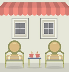 Vintage chairs set with coffee under awning and vector