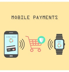 Smartphone and watches with mobile payments vector