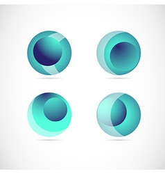 Blue sphere logo icon element set vector