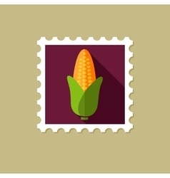 Corn flat stamp with long shadow vector