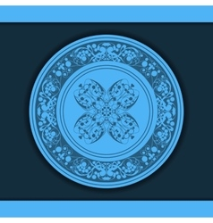 Decorative floral pattern on a blue plate vector image