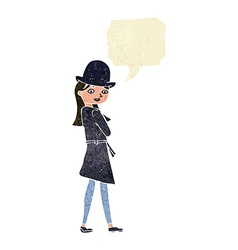 Cartoon female spy with speech bubble vector