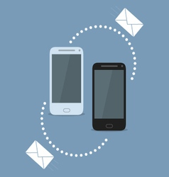 Smartphone sharing sms vector