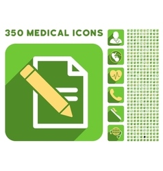 Edit records icon and medical longshadow icon set vector