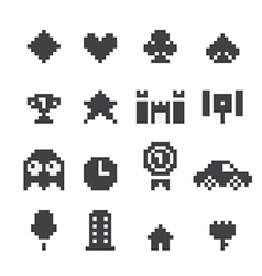 8 bit icons set vector