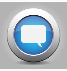 Blue metal button with speech bubble vector