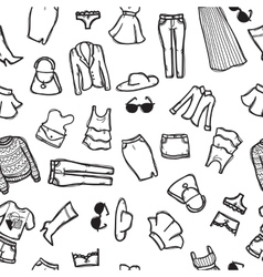 Seamless pattern with woman fashion objects vector