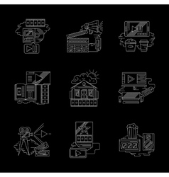 Detailed white line modern cinema icons set vector