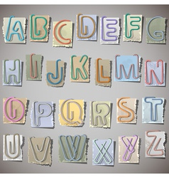 Alphabet on old paper vector image