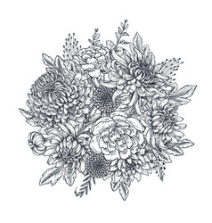 Bouquet with hand drawn chrysanthemum vector