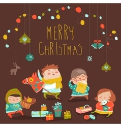 Card with cute kids sweets and christmas presents vector image vector image