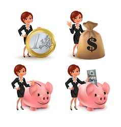 Cartoon business woman money vector