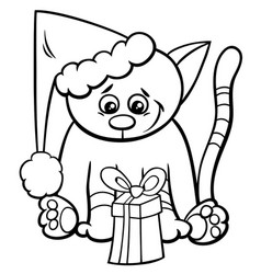 Cat with xmas gift coloring book vector
