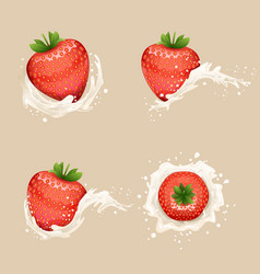 Cream milk curl splash drops fruit strawberry vector
