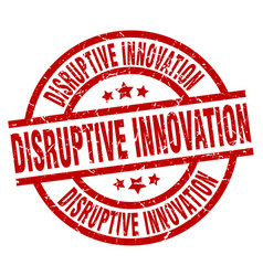 Disruptive innovation round red grunge stamp vector