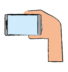 drawing hand with mobile device modern vector image