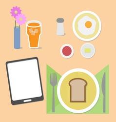 Food and brain breakfast set vector