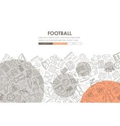 football Doodle Website Template Design vector image vector image