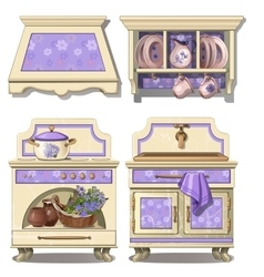 Furniture for kitchen in retro style purple color vector image vector image