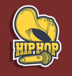 Hip hop sticker design with baseball hat snapback vector