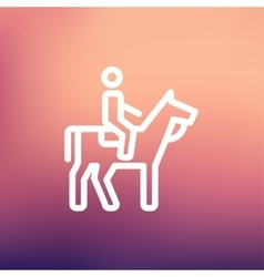 Horse riding thin line icon vector