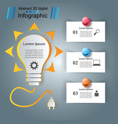 infographic design bulb pin light icon vector image