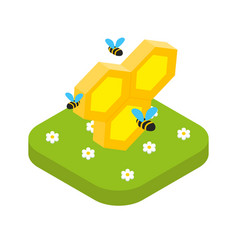 Isometric honeycomb with bees isolated beekeeping vector