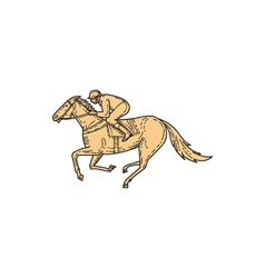 Jockey horse racing side mono line vector