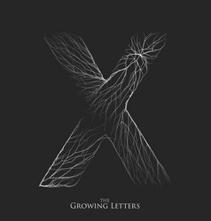 Letter x of branch or cracked alphabet x vector