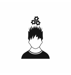 Man with metal gears over head icon simple style vector