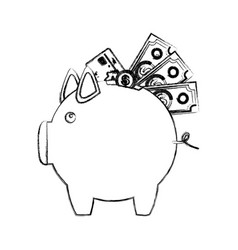 Monochrome sketch of piggy bank with credit card vector