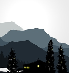 Mountain view with a lonely house vector