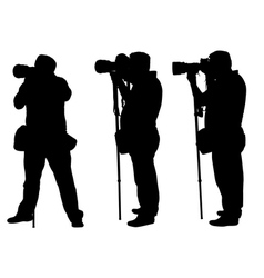 photographers with monopod vector image vector image