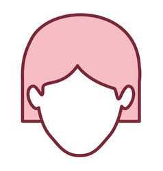 Pink silhouette of faceless woman with short hair vector