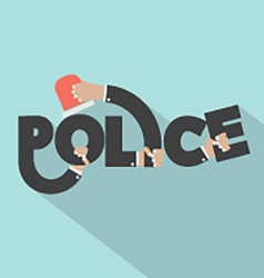 Police With Siren Light In Hands Typography Design vector image vector image